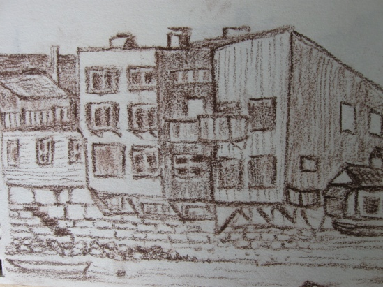 Ghost Town Harbor (conte pencil)