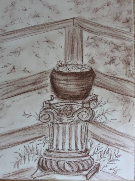 Pot on Pillar (conte pencil)