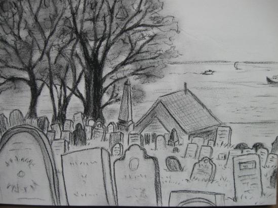 Graveyard (charcoal pencil)