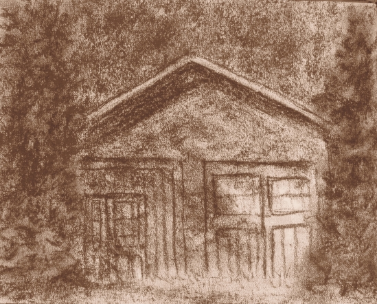 Garage on High Popples Rd. (conte pencil, 5 x 7)