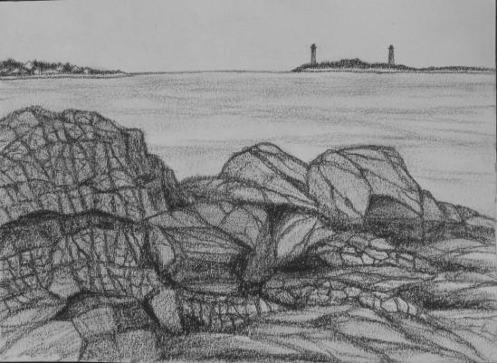 Thatcher Island from Bass Rocks (charcoal pencil, 5 x 7)