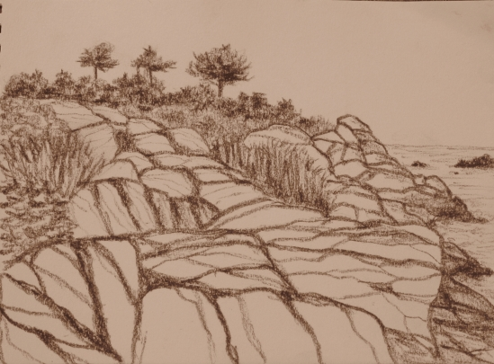 Back Shore (conte pencil, 5 x 7)