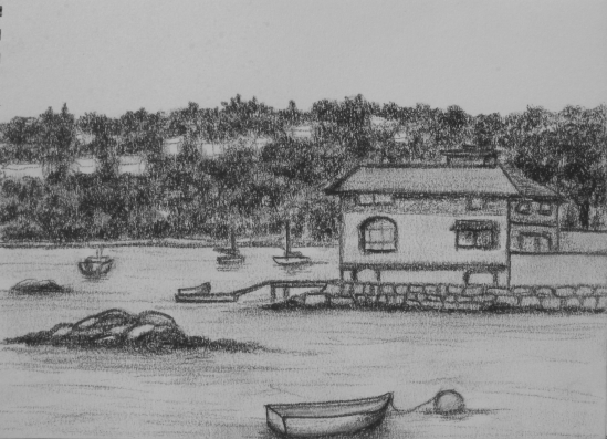 Rocky Neck House (charcoal pencil, 5 x 7)