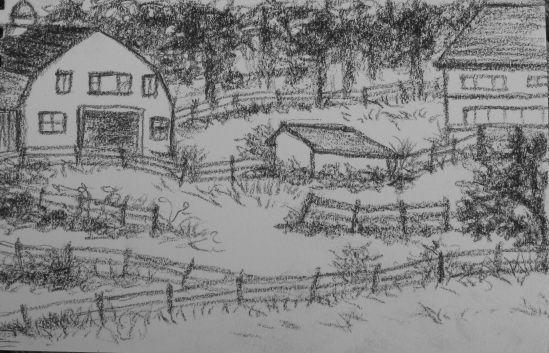Farm on South St., Rockport (conte pencil 4 x 6)