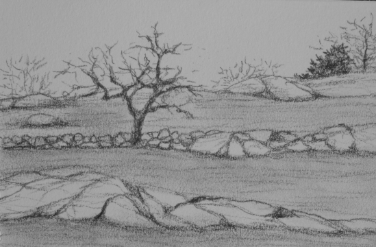 "Moorland Road (conte pencil, 4"" x 6"")"