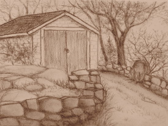 "Shapley Rd. Summer House (conte pencil, 6"" x 8"")"